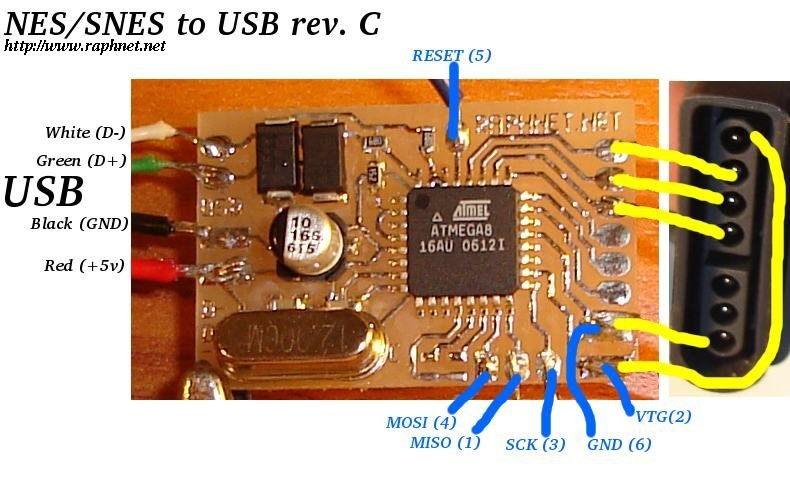 snesusb_revC_pcb_wiring snes nes gamepad (and mouse) to usb adapter computer mouse wiring diagram at webbmarketing.co