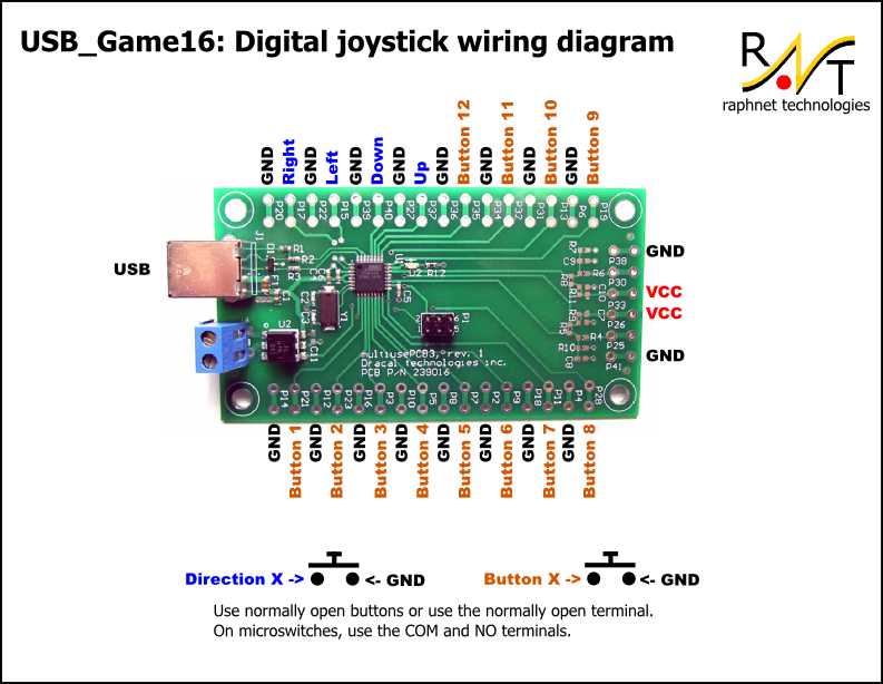 djoy_wiring usb_game16 joystick controller Joysticks Connections Diagram at mifinder.co