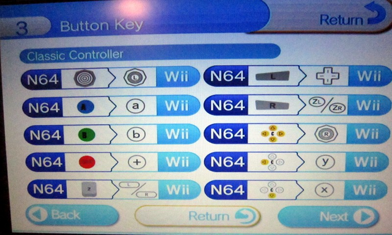 Virtual console classic controller button mappings