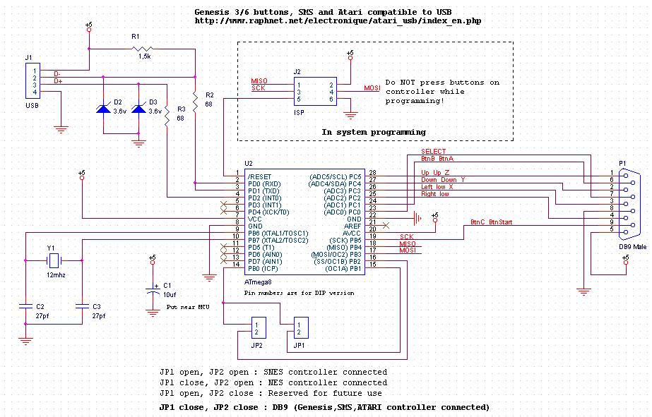 sega db9 pin diagram