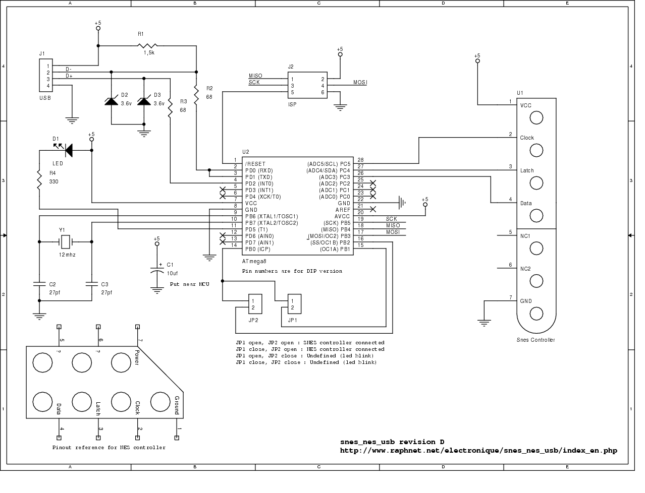 Snes Nes Gamepad And Mouse To Usb Adapter Programmer Circuit Atmega8 Avr Schematic Pcb Isp